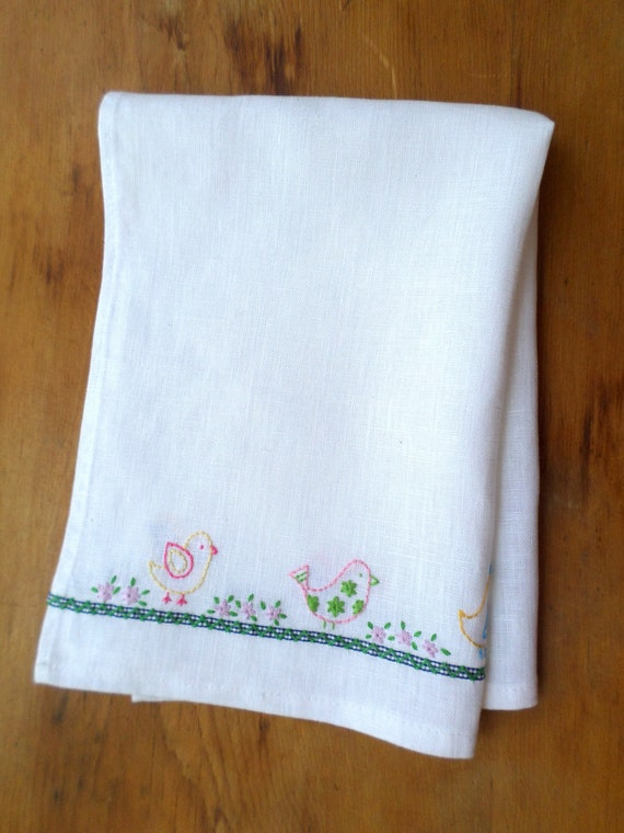 Hand Embroidered Linen Tea Towel, 5 Swedish Birds, Made in Maine