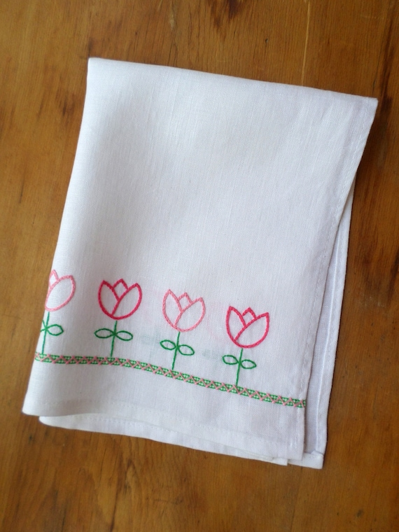 Hand Embroidered Linen Tea Towel, Pink & Green Tulips, Made in Maine