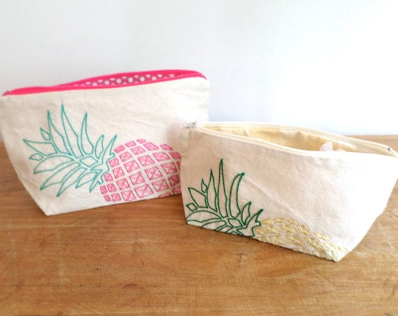 Pineapple Canvas Zipper Bag / Hand Embroidered / Pencil Case / Clutch Purse / Makeup Bag / Toiletries Bag / Made in Maine