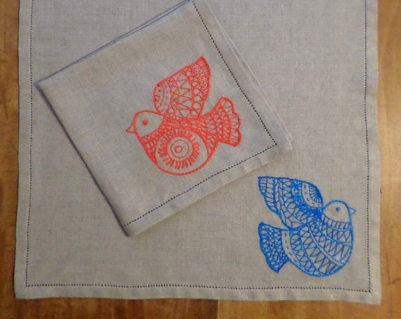 Hand Embroidered Scandinavian Linen Napkins, Tulips or Birds Set of 4