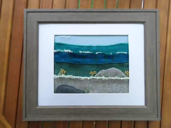 Ocean #1, Hand-Embroidered Crewel Wall Art, Made in Maine