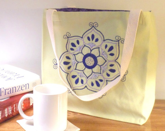 Lotus Flower Tote Bag / Hand Embroidered Purse / Green Cotton Duck Canvas Book Bag / Yoga Tote / Made in Maine