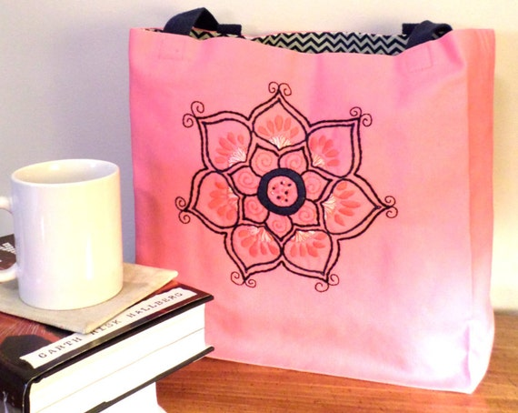 Lotus Flower Tote Bag / Hand Embroidered Purse / Pink Cotton Duck Canvas Book Bag / Yoga Tote / Made in Maine