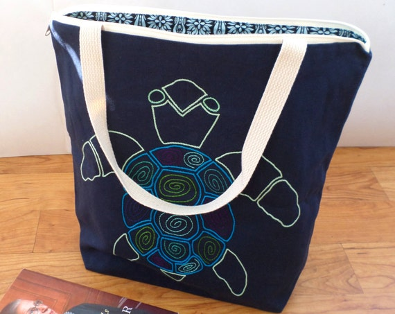 Sea Turtle Zipper Canvas Tote Bag / Hand Embroidered Purse / Made in Maine