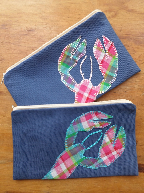 Plaid Lobster Zipper Bags -  Hand Embroidered