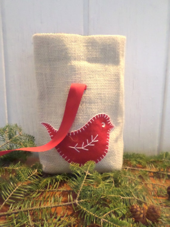 Red Bird Holiday Gift Bag Hand Embroidered
