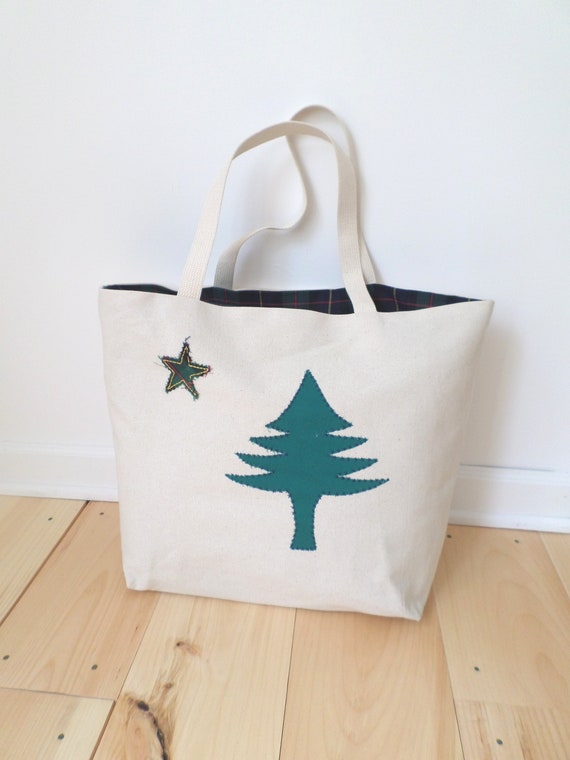 LARGE Original Maine Flag Tote Bag / 1901 Maine Flag Tote / Hand Embroidered Purse / Cotton Duck Canvas / Unique Handmade / Made in Maine