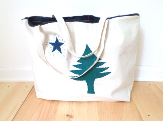 LARGE Original Maine Flag Tote Bag / 1901 Maine Flag Tote / Hand Embroidered / Cotton Duck Canvas / Unique Handmade Bag / Made in Maine