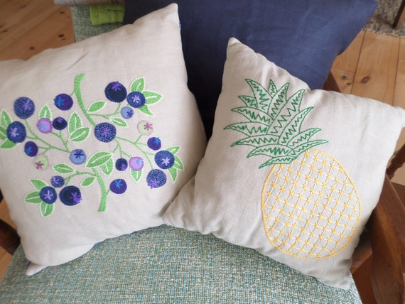 Fruit Pillows - Wild Maine Blueberries and Golden Pineapple,  Hand Embroidered Linen Throw Pillow