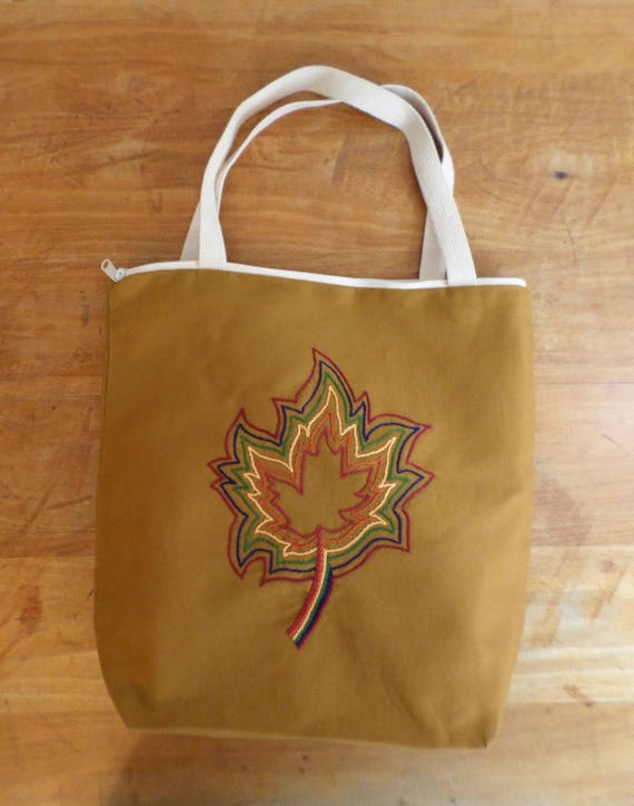 Autumn Leaves Zippered Tote Bag / Hand Embroidered Purse / Cotton Duck Canvas / Maple Leaf Tote / Unique Handmade Tote Bag / Made in Maine