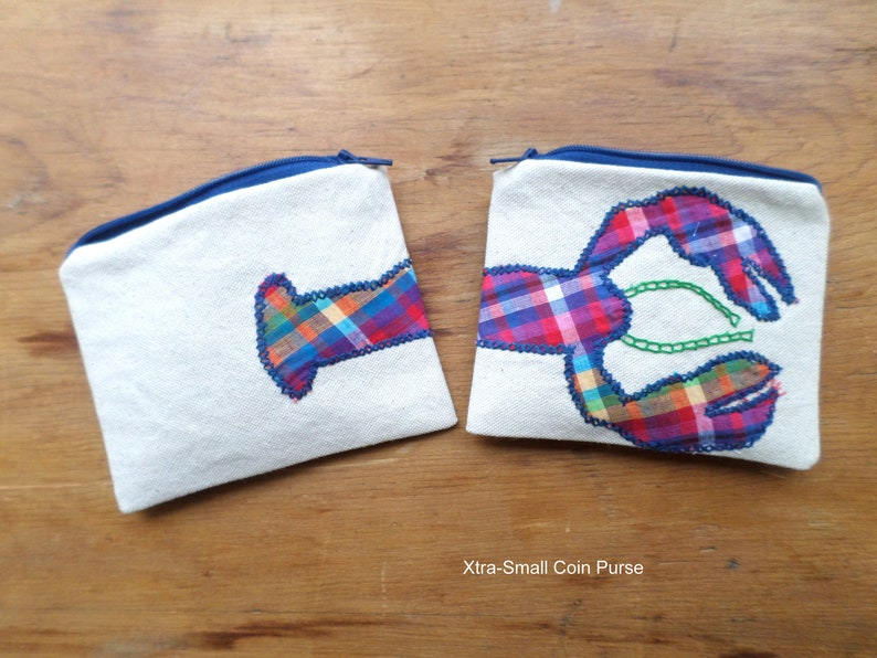 Rainbow Lobster Zipper Bag  Hand Embroidered Coin Purse  Cotton Duck Canvas Handbag  Zip Pouch  Made in Maine