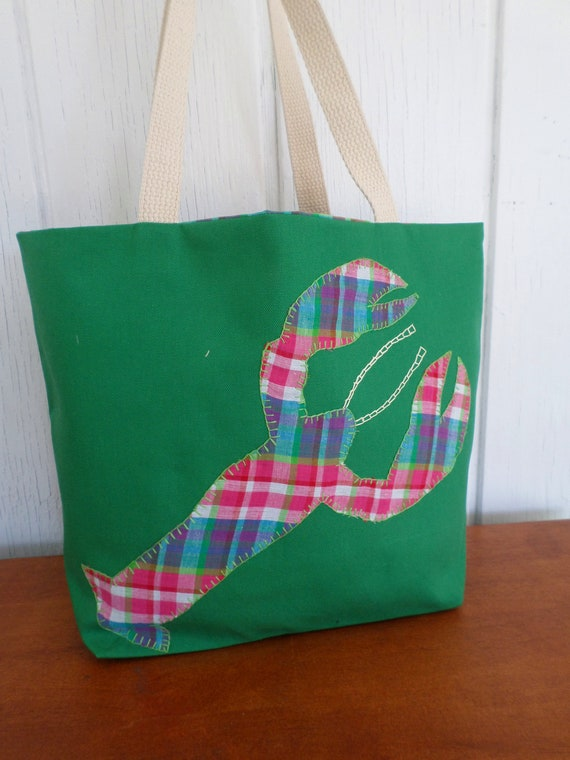Lobster Tote Bag / Hand Embroidered Purse / Pink & Green Cotton Duck Canvas/ Made in Maine