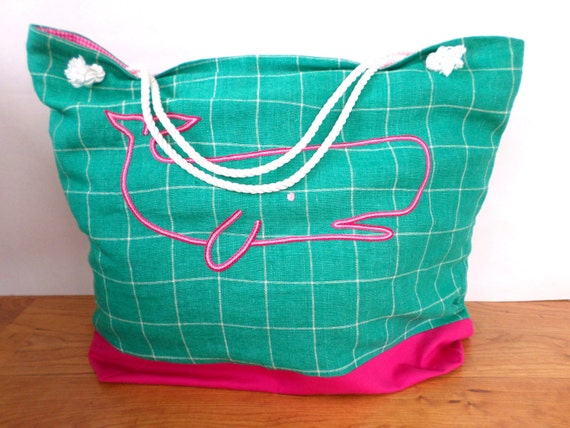 Pink & Green Whale Linen Canvas Beach Bag / Hand Embroidered Tote Bag / Large Handmade Beach Bag / Preppy Beach Bag / Unique Rope Beach Bag