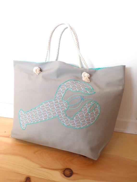 Sea Glass Green Lobster Beach Bag / Unique Rope Beach Bag/ Brodera Hallandssom / Made in Maine