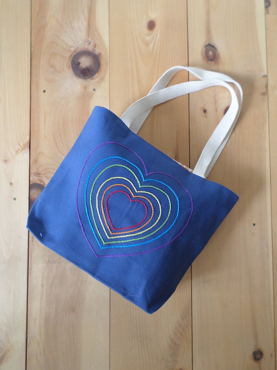 Rainbow Hearts Hand Embroidered Tote Bag, Made in Maine