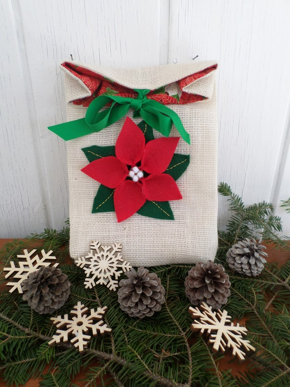 Hand Embroidered Holiday Gift - Burlap / Made in Maine