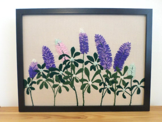 Lupine Hand-Embroidered Crewel Wall Art, Made in Maine