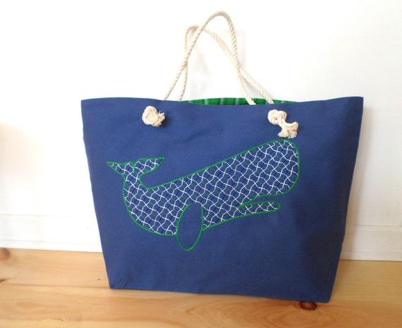 Royal Blue Whale Beach Bag / Unique Rope Beach Bag/ Brodera Hallandssom / Made in Maine