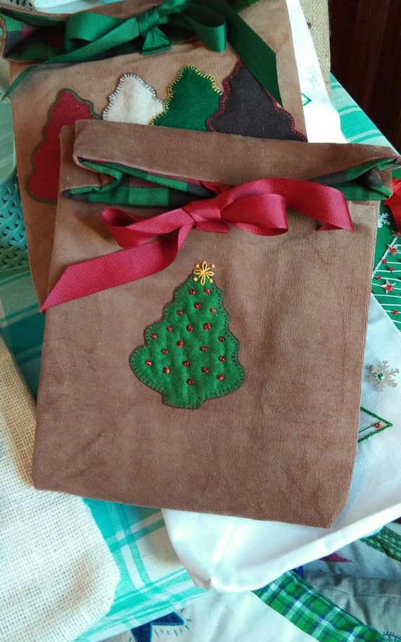 Corduroy  Holiday Gift Bag, Reuseable Christmas Fabric Gift Bag, Made in Maine, Christmas Tree