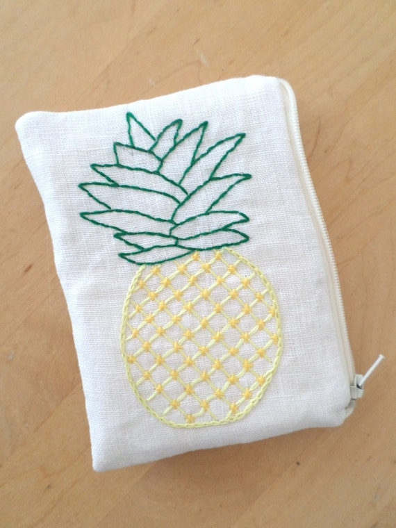 Linen Coin Purse / Hand Embroidered Wallets / Pineapplle / Zipper Pouch / 100% Linen / Made in Maine