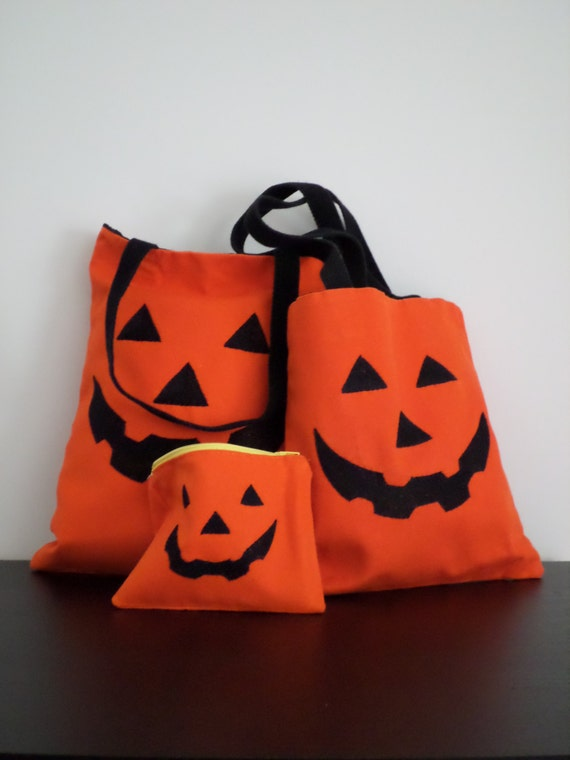Halloween Trick or Treat Bag / Jack O' Lantern Tote Bag / Hand Embroidered Autumn Purse / Pumpkin Orange Cotton Duck Canvas