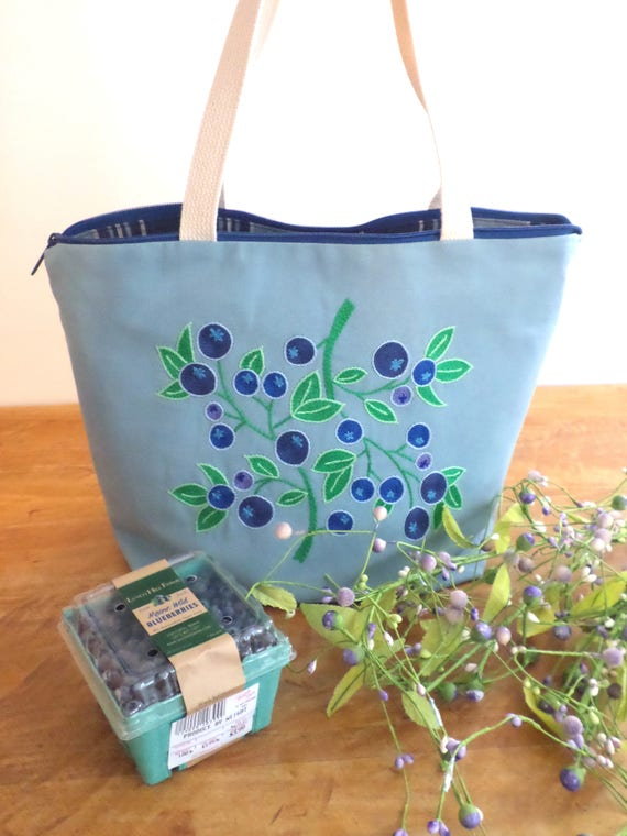 Blueberry Zipper Canvas Tote Bag / Hand Embroidered Purse / Unique Handmade Tote Bag / Made in Maine