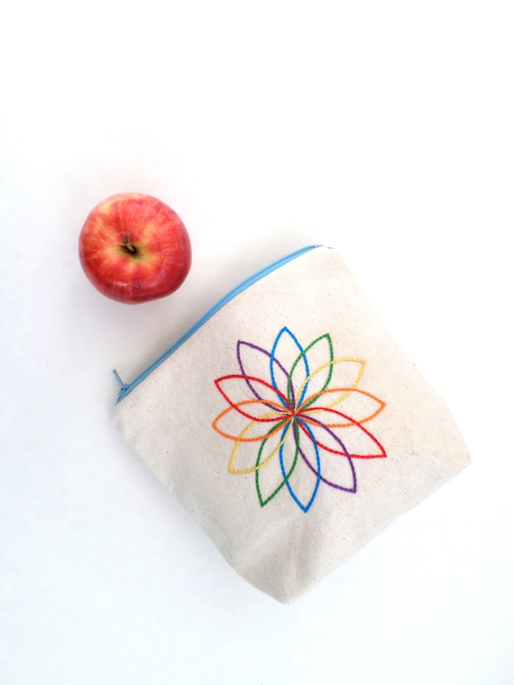 Rainbow Mandala Zipper Bag / Hand Embroidered Clutch Purse / Cotton Duck Canvas Bag / Makeup Bag / Zip Pouch / Wallet / Made in Maine