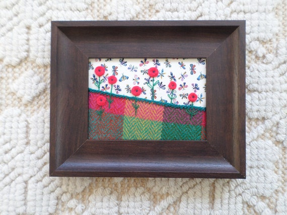 Summer #1, Hand-Embroidered Crewel Wall Art, Made in Maine