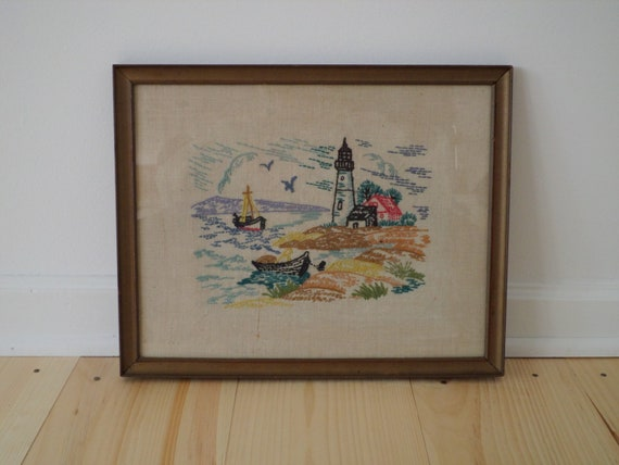 Vintage Hand-Embroidered Lighthouse Wall Art, Early 1980s Vintage Hand-Embroidered Seascape