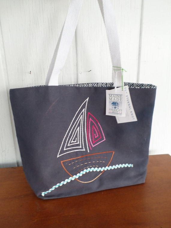 NQP Sail Boat Tote Bag / Hand Embroidered Purse / Navy Blue Cotton Duck Canvas / Unique Canvas Tote Bag / Made in Maine