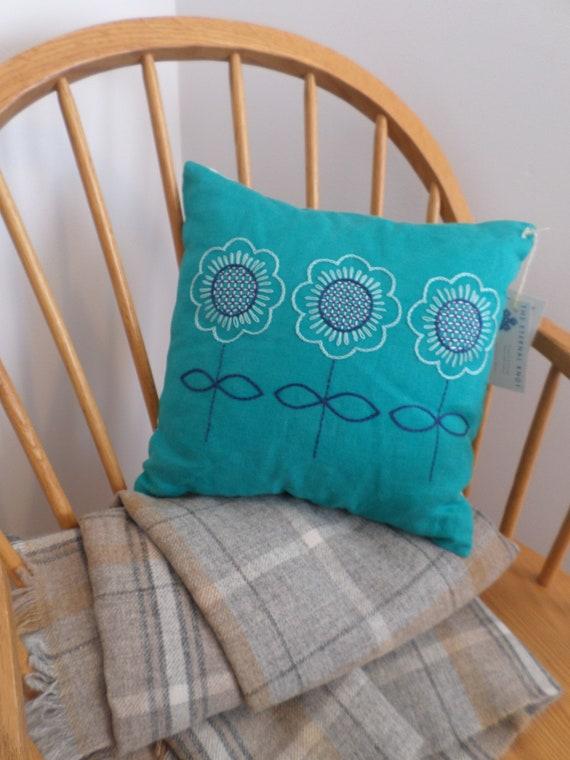 Spring Flowers Scandinavian Pillow, Hand Embroidered Linen Throw Pillow, Brodera Hallandssom Folk Design, Made in Maine