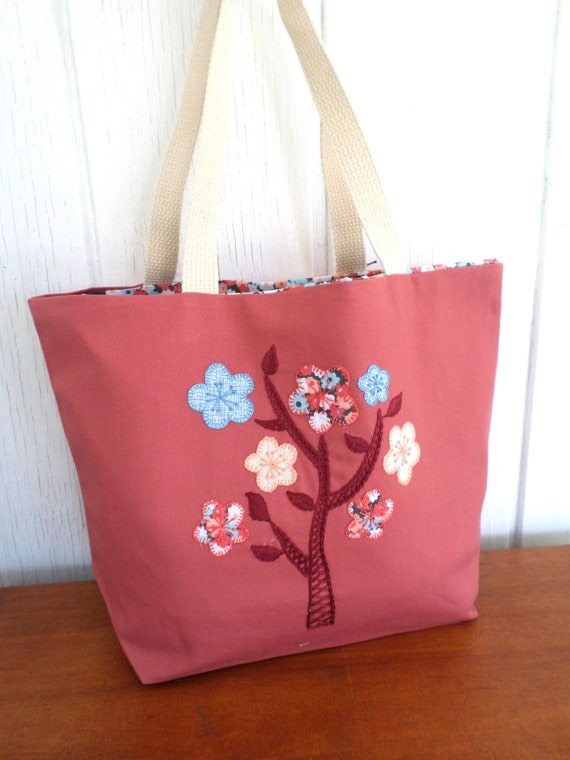 Spring Flowers Hand Embroidered Tote Bags / Various Colors / Made in Maine