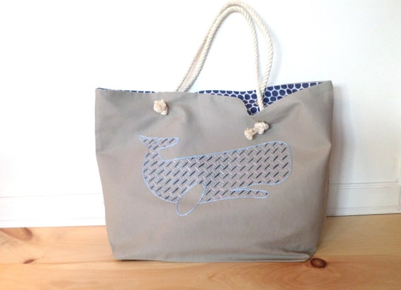 Blue Whale Beach Bag / Unique Rope Beach Bag/ Brodera Hallandssom / Made in Maine