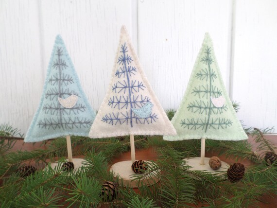 "Maine Balsam Fir Hand Embroidered Felt Tabletop Tree Sculpture Set - ""Fairy Garden Forest"" Made in Maine 2021"