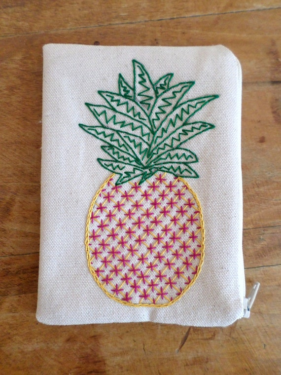 Pineapple Wallet / Hand Embroidered Zipper Pouch / Tropical Coin Purse / Zip Bag / Cotton Duck Canvas / Made in Maine