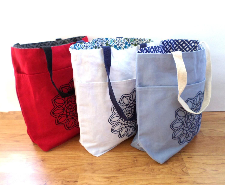 Lotus Flower Mandala Tote Bag Set Hand Embroidered Book Bag