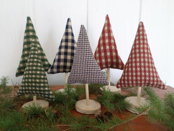 Maine Balsam Fir Hand Embroidered Gingham Tabletop Tree Sculpture Set, Made in Maine 2021