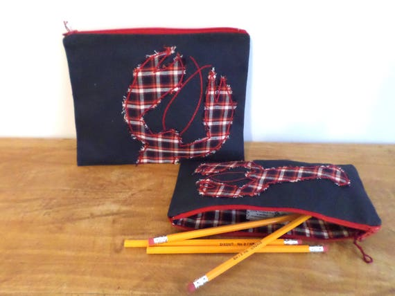 Red Lobster Zipper Bag / Hand Embroidered Clutch Purse / Pencil Case / Cotton Duck Canvas Handbag / Makeup Bag / Zip Pouch / Made in Maine