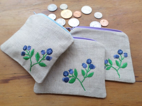 Wild Maine Blueberry Linen Coin Purse Hand Embroidered