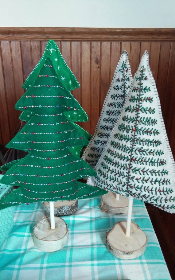 Maine Balsam Fir Tabletop Christmas Tree, Hand-Embroidered Felt Christmas Decoration, Made in Maine