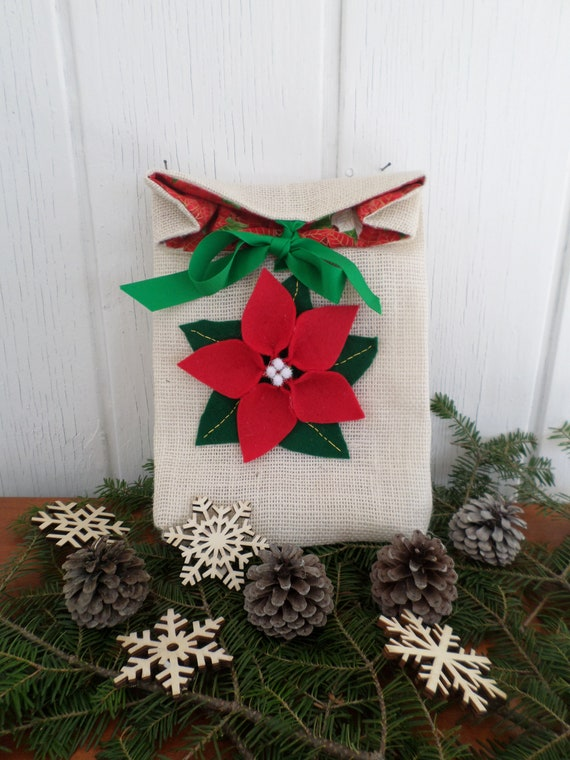 Burlap Holiday Gift Bag, Reuseable Christmas Fabric Gift Bag, Poinsettia Gift Bag, Made in Maine