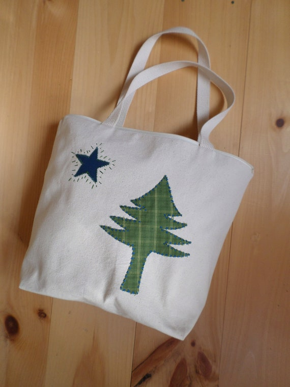 Original 1901 Maine Flag Tote Bag / MEDIUM / Cotton Duck Canvas / Unique Handmade / Made in Maine