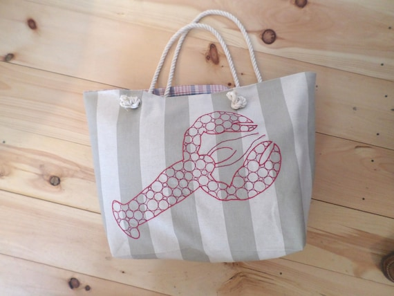 Maine Lobster Striped Canvas Beach Bag / Hand Embroidered Tote Bag / Handmade Khaki Beach Bag / Red, White & Blue Beach Bag / Rope Handles