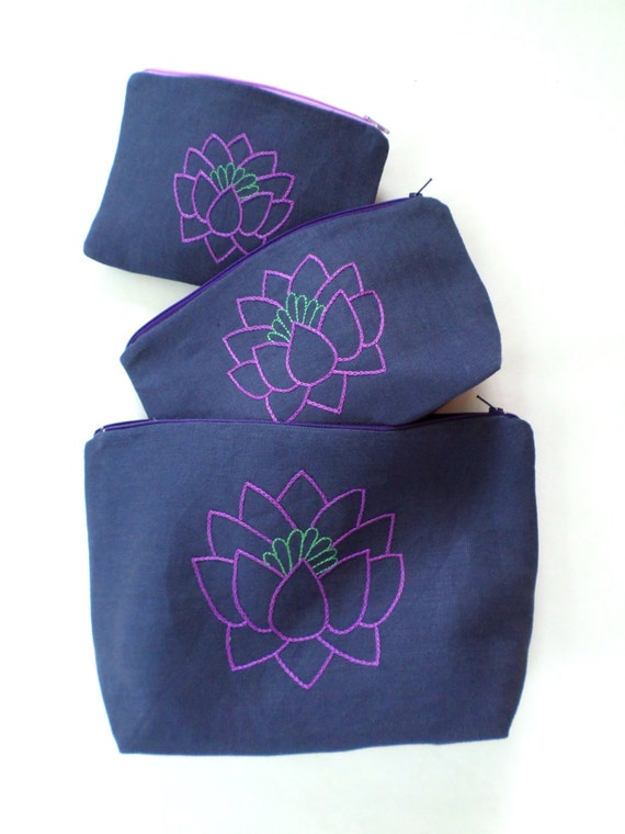 Linen Lotus Flower Tote Bag Set / Hand Embroidered 100% Linen Clutch / Navy Blue Zipper Pouch / Pencil Case / Wallet / Made in Maine