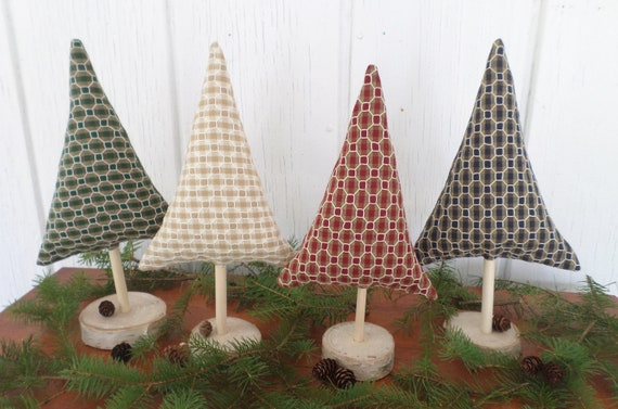 Maine Balsam Fir Hand Embroidered Tabletop Tree Sculpture - Gingham Honeycomb - Made in Maine 2021