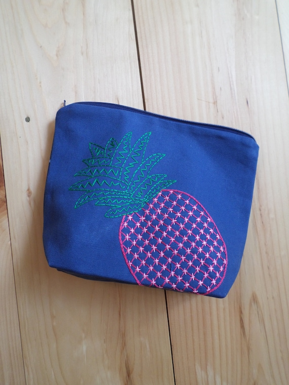 Pineapple Zipper Bag / Hand Embroidered / Cotton Duck Canvas / Pencil Case / Clutch Purse / Makeup Bag / Toiletries Bag / Made in Maine