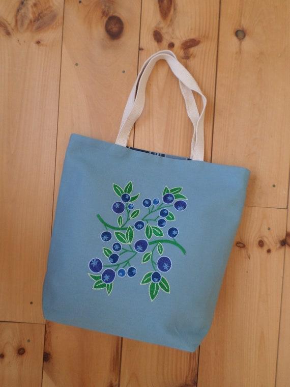 Blueberry Canvas Tote Bag / Hand Embroidered Purse / Unique Handmade Tote Bag / Made in Maine