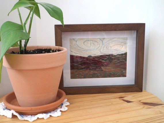Wind on the Barrens - Hand-Embroidered Crewel Wall Art, Made in Maine
