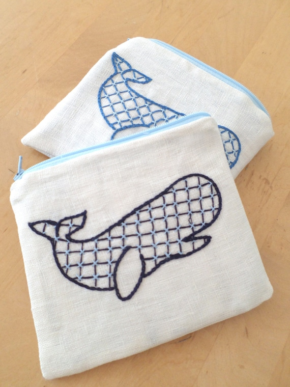 Linen Coin Purse / Hand Embroidered Wallets / Whale / Zipper Pouch / 100% Linen / Made in Maine