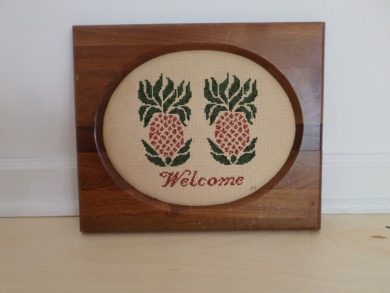 Vintage Hand-Embroidered Pineapple Welcome Sign, Framed Wall Art, Vintage Hand-Embroidered Pineapples